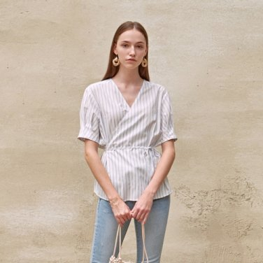 STRIPE WRAP BLOUSE_IVORY