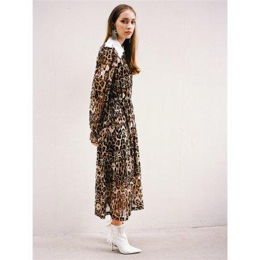 [더애쉴린]SASHA LEOPARD SHIRT COLLAR MIDI DRESS