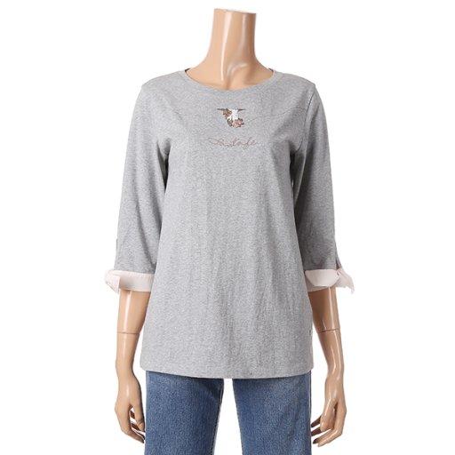 [여성]소매 우븐 배색 티셔츠(T192MTS134W)