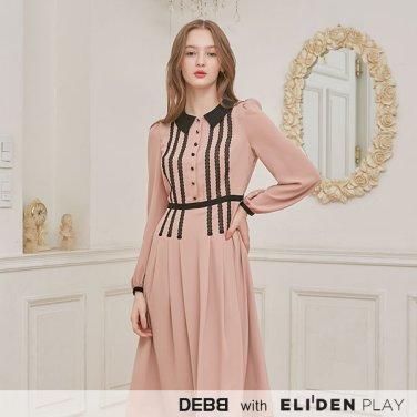 [뎁][DEBB Signature][안현모 착용] 레이스 카라 드레스_PEACH (DBAMA4004M)