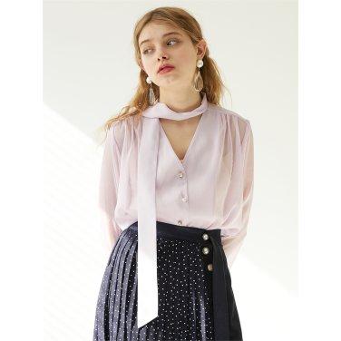 [에프코코로미즈] see through ribbon tie blouse LL
