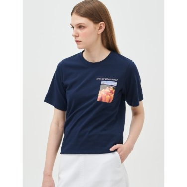 [Online Exclusive] 화이트 그래픽 프린트 베이직 티셔츠 (BF9342N03R)