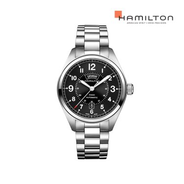 H70505133 카키 필드 데이데이트 블랙 메탈 남성 시계