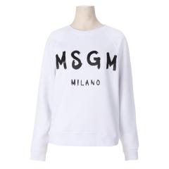 MSGM 여성 로고 프린트 스웨트셔츠 2541MDM89 화이트