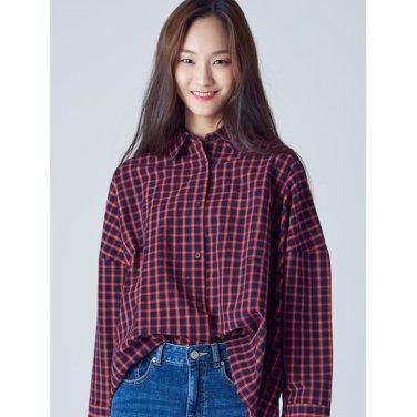 여성 레드 타탄체크 배트윙 오버핏 셔츠 (168864WY36)