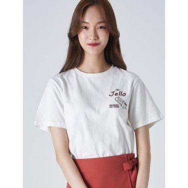 여성 아이보리 코튼 포인트 엠브로이더리 반소매 티셔츠 (329742LYL0)