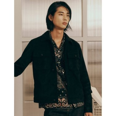 남성 블랙 스웨이드 트러커 재킷 (26993ZFY15)