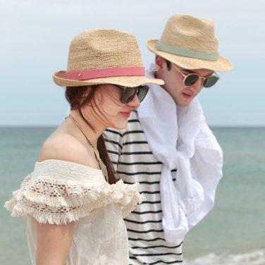 [화이트샌즈] 남녀공용 뉴 깐느 이태리 통가죽 스트랩 라피아햇 (WHDM017E)