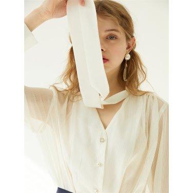 [에프코코로미즈] see through ribbon tie blouse IV