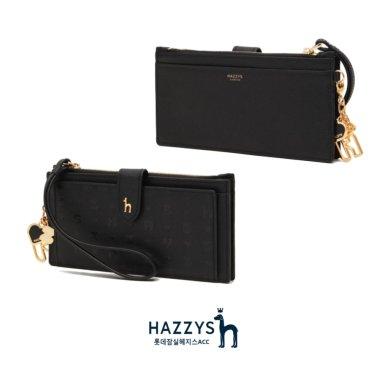 [선물포장]HIHO0E533BK_블랙 가죽 테터링 탑지퍼 카드지갑
