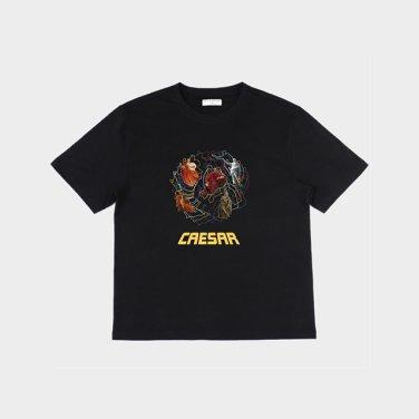 시저 프린트 반팔 티셔츠 - BLACK