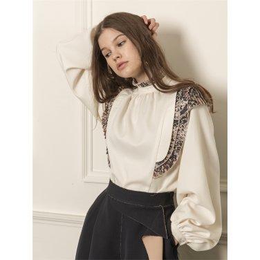 [까이에] Leaf print pleated blouse