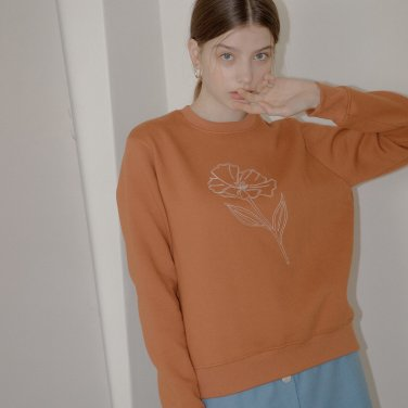FLOWER LINE SWEATSHIRT_BROWN