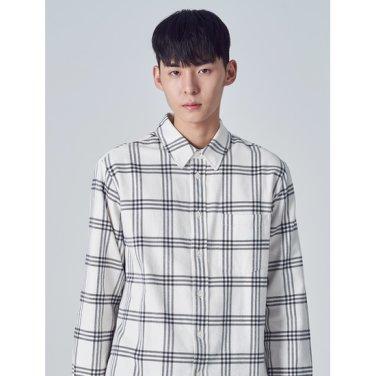 남성 아이보리 코튼 체크 캐주얼 셔츠 (258Y64WY10)