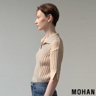 [모한] MOHAN TTS RIBBED COLLAR KNIT TOP _ 4 COLOR (MHTTSKN009)
