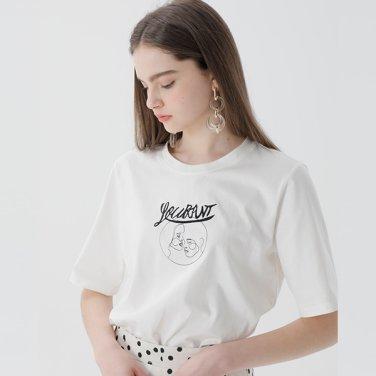 [청하/강예원착장] 모던 엠브로더리 티셔츠(NW9ME718)