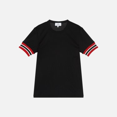 소매 컬러 매치 코튼 티셔츠 (VWMT1KK14BA0)
