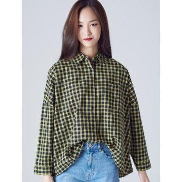 여성 옐로우 타탄체크 배트윙 오버핏 셔츠 (168864WY2E)