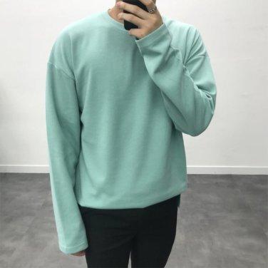 남성 드롭 오버핏 코튼 긴팔 가을 티셔츠_T0439