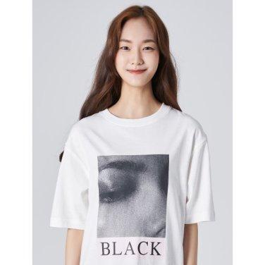 여성 화이트 20수 코튼 전사 프린팅 라운드넥 티셔츠 (169742HY11)