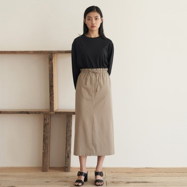 19AU COTTON STRING SKIRT (KHAKI BEIGE)