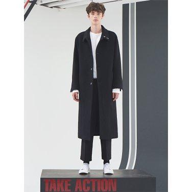 [홀리넘버7] Black Overfit Belted Long Coat