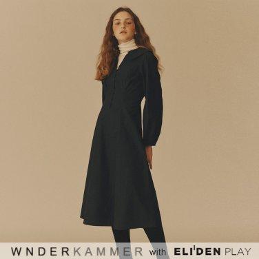 [분더캄머:WNDERKAMMER] Cotton Flared Dress_Navy (WK9F8-CFOP010)