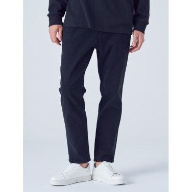 남성 블랙 코튼 테이퍼드 핏 팬츠 (258X21WY45)
