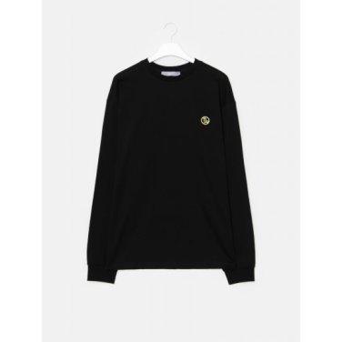 남성 블랙 코튼 그래픽 포인트 티셔츠 (459841LQ45)