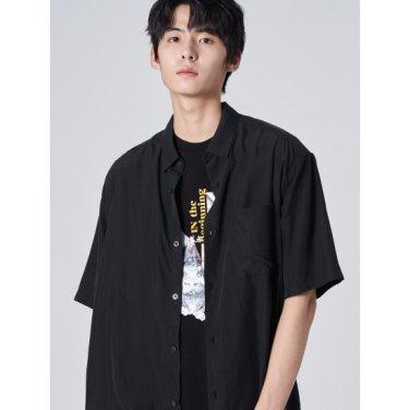 남성 블랙 모달 포켓 슬릿 반소매 셔츠 (269765DY25)