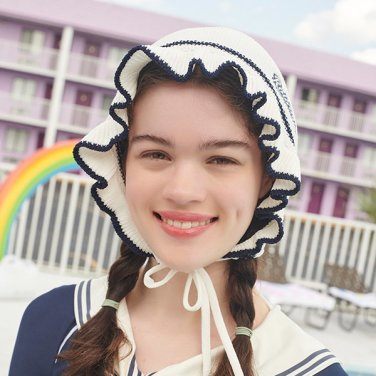 (CH-19372) KNIT FRILL SWIMMING CAP WHITE