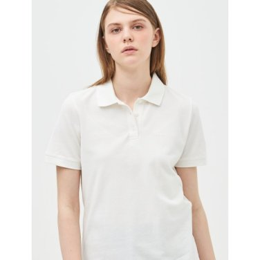 [Online Exclusive] 화이트 베이직 로고 프린트 피케 티셔츠 (BF9342N071)