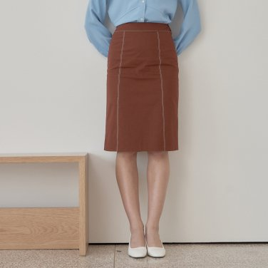 STITCH SKIRT_BROWN