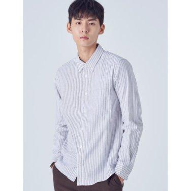 남성 화이트 플란넬 컬러 핀 스트라이프 셔츠 (258X64WY31)