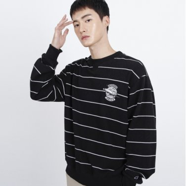 (UNISEX)Striped feather Logo Sweatshirt (BLACK)