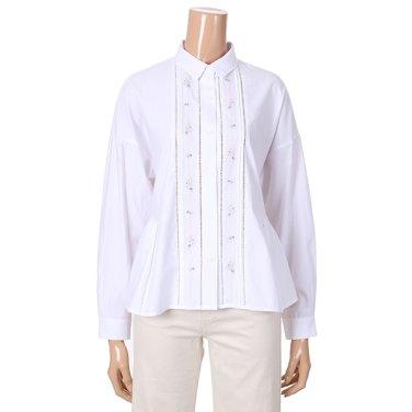 [여성]허리 절개 셔링 자수 포인트 셔츠 블라우스(T192MBL153W)