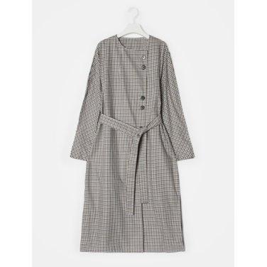 여성 베이지 멀티 컬러 깅엄 체크 트렌치 코트 (11883TWY4A)