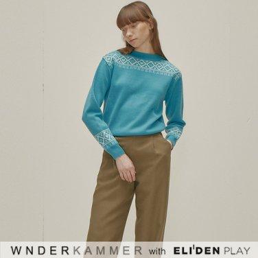 [분더캄머:WNDERKAMMER] Logo Jacquard Sweater Top_Blue (WK9F9-LJSW030)