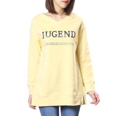 레터링 브이넥 맨투맨 티셔츠 (OW9SE173)
