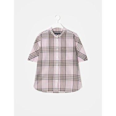 라이트 핑크 시스루 밴드넥 체크 반소매 셔츠 (BF9465U02Y_)
