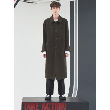 [홀리넘버7] Khaki Overfit Belted Long Coat
