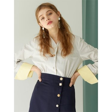 [에프코코로미즈] v neck st button p shirt