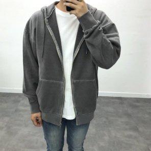 남자 캐주얼 워싱 바이오 피그먼트 오버핏 후드집업_JK0142