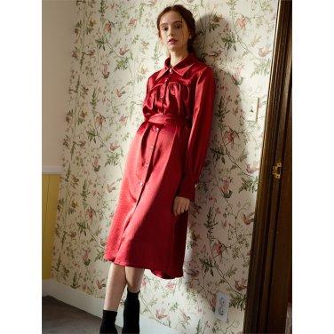 [일루스트리스일루전] DARK RED SATIN DRESS
