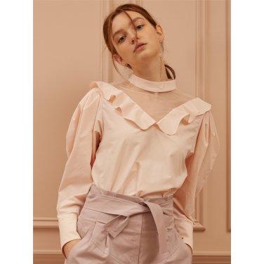 [까이에] V-neck mesh Drop Shoulder Blouse