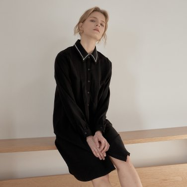 TUCKED FLARE ONEPIECE_BLACK