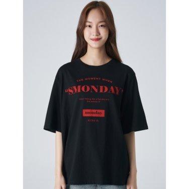 여성 블랙 배색 레터링 프린트 5부 티셔츠 (329742LYK5)