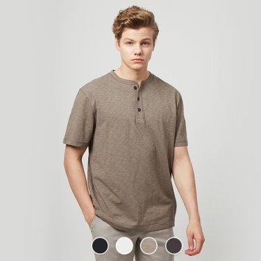 남 헨리넥 반팔 티셔츠(솔리드) 029511S