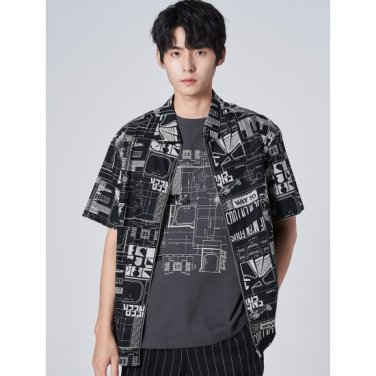 남성 애쉬 포인트 프린팅 집업 반소매 셔츠 (219765AYA4)