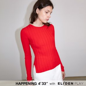 [HAPPENING 433] 20SS PEARL ROUND-NECK  RIB KNIT PULLOVER_RED (HP201KPO02)